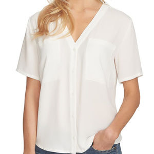 1.State V Neck Button Front Blouse Chest Pockets